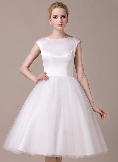 A-Line/Princess Scoop Neck Knee-Length Satin Tulle Wedding Dress