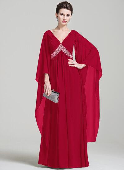 Empire-Linie V-Ausschnitt Bodenlang Chiffon Kleid für die Brautmutter mit Rüschen Perlstickerei Pailletten