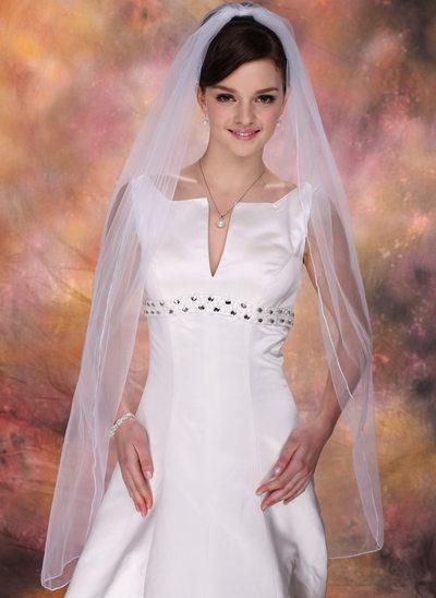 One-tier Waltz Bridal Veils With Pencil Edge