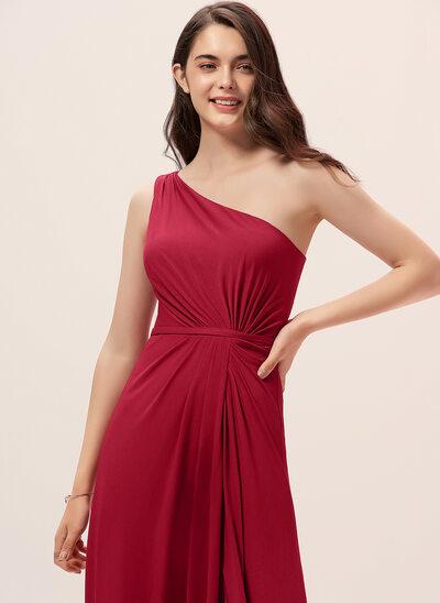 A-Linie Eine Schulter Bodenlang Jersey Brautjungfernkleid mit Rüschen Schlitz Vorn