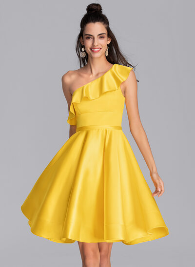 A-Line One-Shoulder Knee-Length Satin Cocktail Dress With Cascading Ruffles