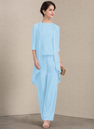 A-Linie U-Ausschnitt Knöchellang Chiffon Kleid für die Brautmutter mit Spitze