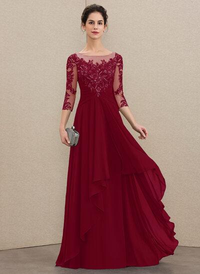 A-Linie U-Ausschnitt Bodenlang Chiffon Spitze Kleid für die Brautmutter mit Gestufte Rüschen