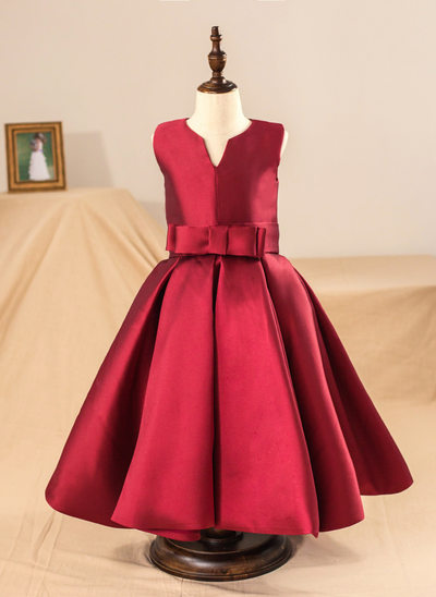 Ball Gown Tea-length Flower Girl Dress - Satin Sleeveless Scoop Neck With Bow(s) (Petticoat NOT included)