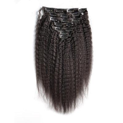 4A No remy Kinky Straight Cabello humano Extensiones de cabello con clip 7PCS 100g
