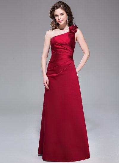 Forme Princesse Encolure asymétrique Longueur ras du sol Satiné Robe de demoiselle d'honneur avec Plissé Fleur(s)