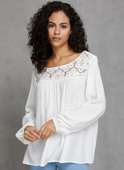Lace Solid Long Sleeves Cotton Round Neck Blouses