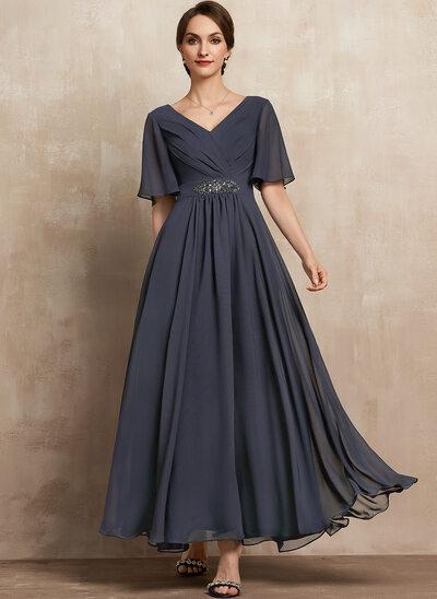 A-Linie V-Ausschnitt Knöchellang Chiffon Kleid für die Brautmutter mit Rüschen Perlstickerei Pailletten