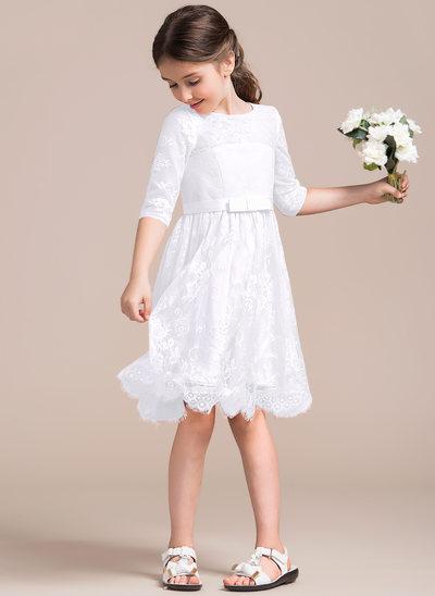 Vestidos princesa/ Formato A Decote redondo Coquetel Renda Vestido de daminha júnior com Curvado