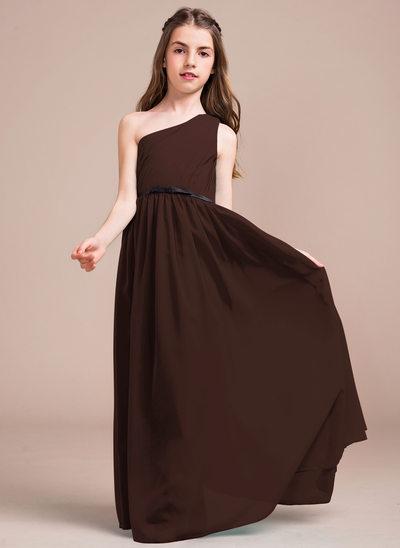 Vestidos princesa/ Formato A Um ombro Longos Tecido de seda Vestido de daminha júnior com Pregueado Curvado