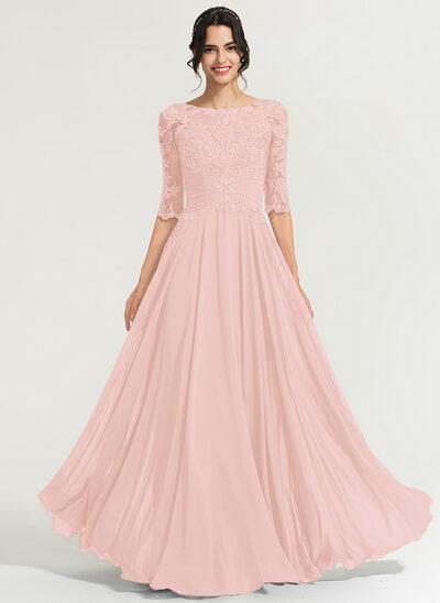 Çan Yuvarlak Yaka Uzun Etekli Şifon Mezuniyet Elbisesi Ile Payetler