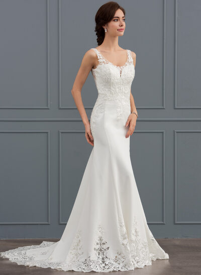 Sheath/Column V-neck Court Train Satin Lace Wedding Dress With Sequins