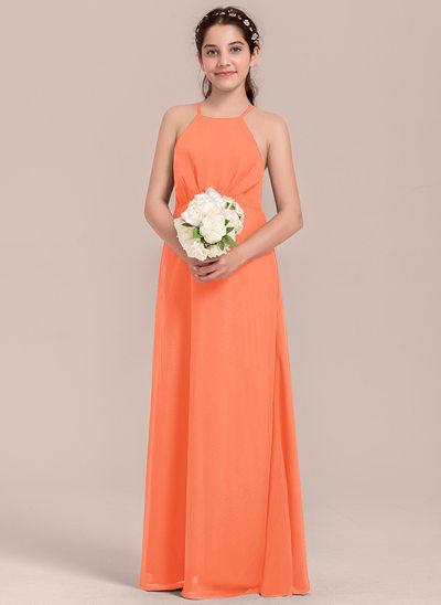 Vestidos princesa/ Formato A Decote quadrado Longos Tecido de seda Vestido de daminha júnior com Pregueado