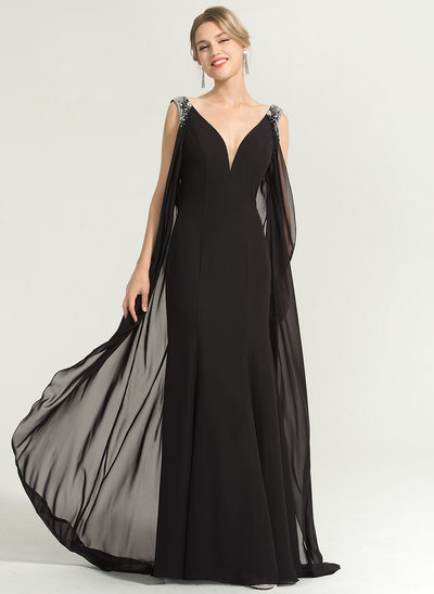 Sheath/Column V-neck Floor-Length Chiffon Evening Dress With Beading Sequins