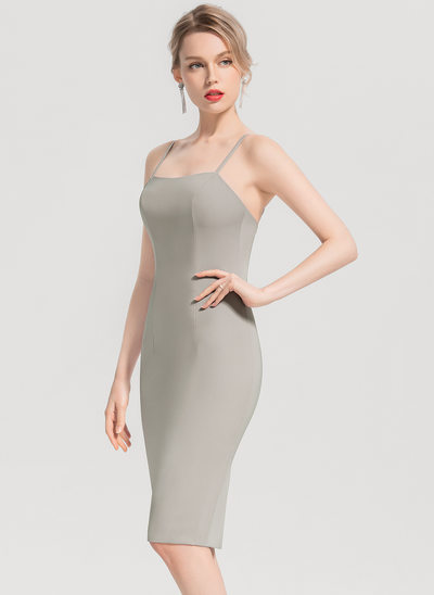 Sheath/Column Square Neckline Knee-Length Satin Cocktail Dress