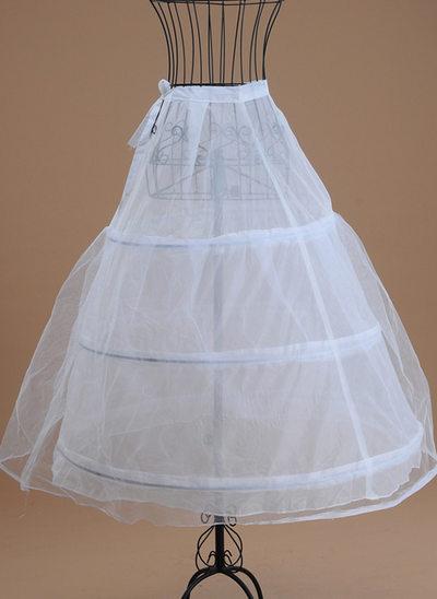 Women Tulle Netting/Satin Tea-length 1 Tiers Bustle