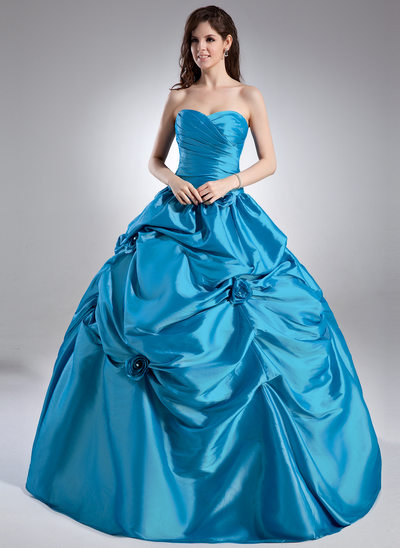 Ball-Gown Sweetheart Floor-Length Taffeta Prom Dress With Ruffle Beading Flower(s)