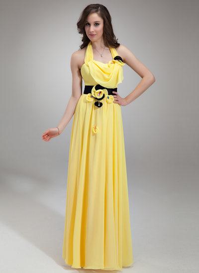 A-linjeformat Grimma Golvlång Chiffong Festklänning med Rufsar Skärpband Pärlbrodering
