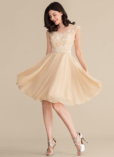 A-Line/Princess V-neck Knee-Length Chiffon Lace Bridesmaid Dress With Beading Sequins