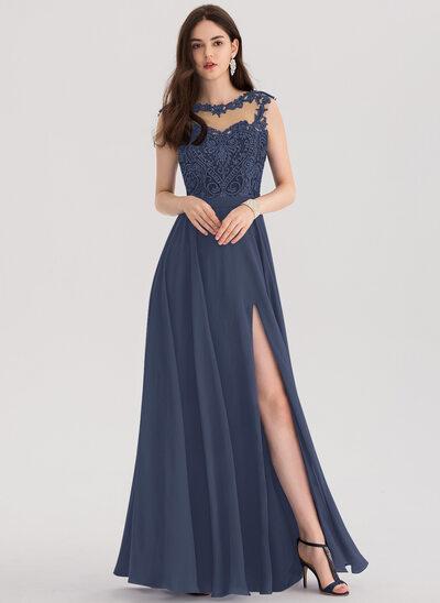 Vestidos princesa/ Formato A Decote redondo Longos Tecido de seda Vestido de baile com Beading lantejoulas Frente aberta