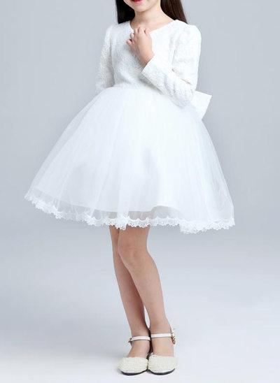 Corte A/Princesa Hasta la rodilla Vestidos de Niña Florista - mezcla de algodón Manga larga Escote redondo con Encaje