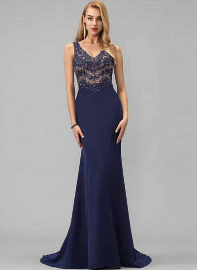 Trumpet/Mermaid V-neck Sweep Train Stretch Crepe Evening Dress With Beading Sequins