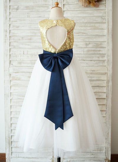 A-Line/Princess Tea-length Flower Girl Dress - Sequined Sleeveless Scoop Neck With Sequins/Bow(s)