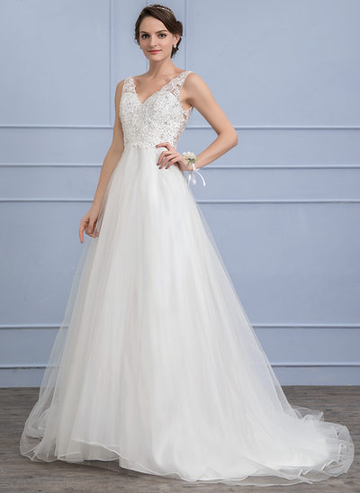 A-Line/Princess V-neck Sweep Train Tulle Lace Wedding Dress With Beading Sequins