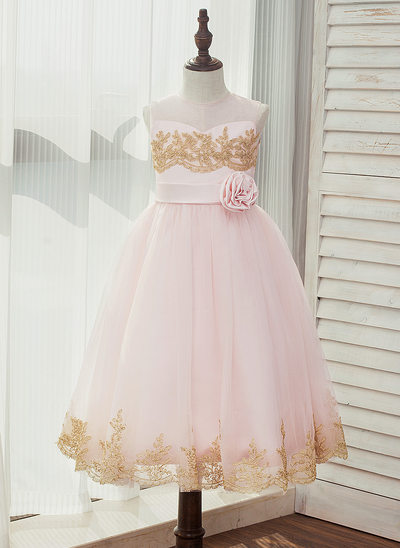 A-Line/Princess Tea-length Flower Girl Dress - Satin/Tulle/Lace Sleeveless Scoop Neck With Sash/Appliques/Flower(s) (Detachable sash)