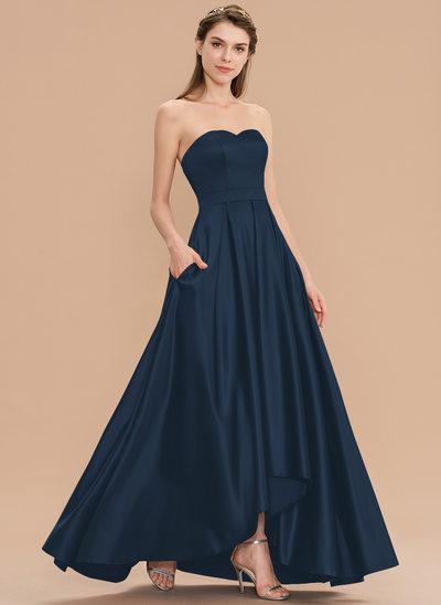 A-Line Sweetheart Asymmetrical Satin Bridesmaid Dress