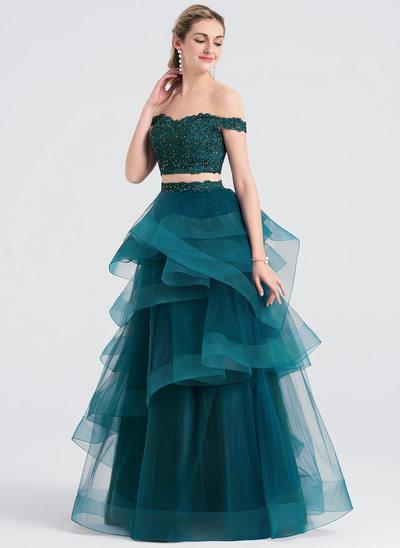 Balo Elbisesi Off-Omuz Uzun Etekli Tül Mezuniyet Elbisesi Ile boncuklu kısım
