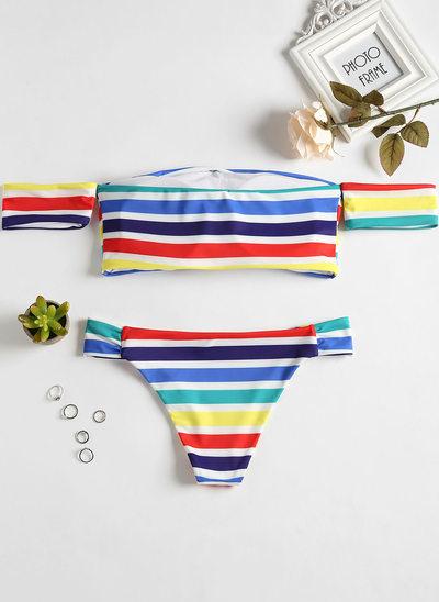 Sexy Raya Triángulo poliéster Del spandex Bikinis Traje de baño