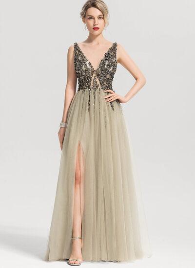 Vestidos princesa/ Formato A Decote V Longos Tule Vestido de baile com Beading lantejoulas Frente aberta