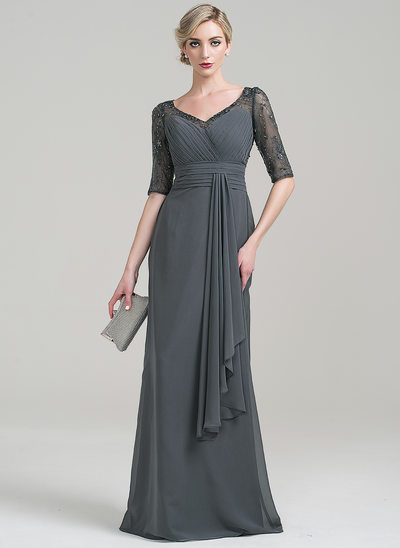 Sheath/Column V-neck Floor-Length Chiffon Mother of the Bride Dress With Lace Beading Sequins Cascading Ruffles