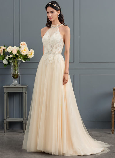 A-Line/Princess High Neck Sweep Train Tulle Wedding Dress With Ruffle Beading