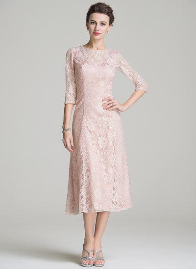 A-Line/Princess Scoop Neck Tea-Length Lace Mother of the Bride Dress