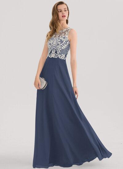 Vestidos princesa/ Formato A Decote redondo Longos Tecido de seda Vestido de baile com Beading lantejoulas