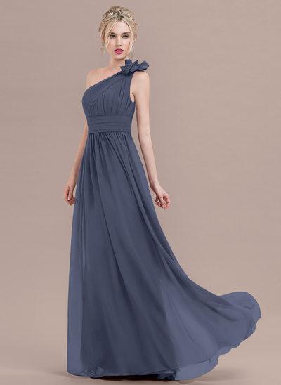 Vestidos princesa/ Formato A Um ombro Longos Tecido de seda Vestido de baile com Pregueado fecho de correr