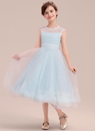 Princesový Tříčtvrteční délka Flower Girl Dress - Tyl/Krajka Bez rukávů Scoop Neck