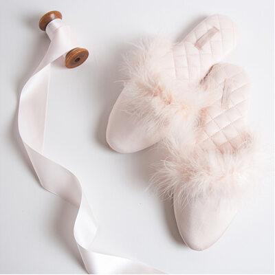 Bride Gifts - Graceful Satin Leather Slippers