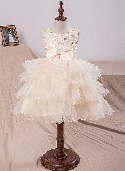 Ball Gown Knee-length Flower Girl Dress - Organza/Lace Sleeveless Scoop Neck With Bow(s)