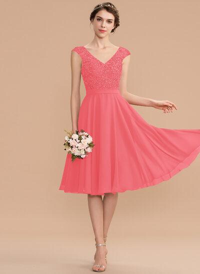 A-Line V-neck Knee-Length Chiffon Lace Bridesmaid Dress With Beading