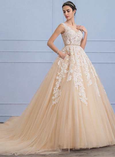 Ball-Gown Scoop Neck Cathedral Train Tulle Lace Wedding Dress With Beading Pockets