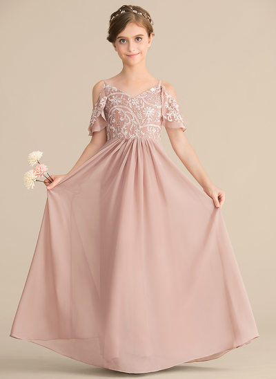 ebb9b8c76 A-Line/Princess V-neck Floor-Length Chiffon Lace Junior Bridesmaid Dress