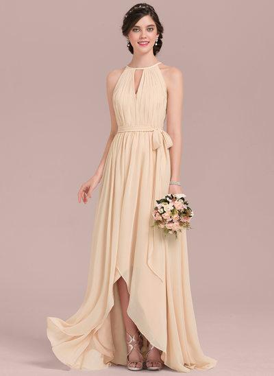 A-Linie/Princess-Linie U-Ausschnitt Asymmetrisch Chiffon Brautjungfernkleid mit Rüschen Schleife(n)