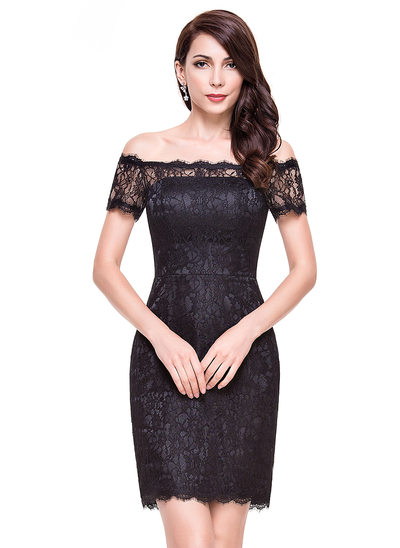 Sheath/Column Off-the-Shoulder Short/Mini Lace Cocktail Dress