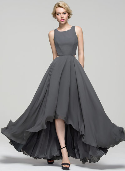 Princesový Kruhový výstřih Asymetrické Šifón Večerní šaty