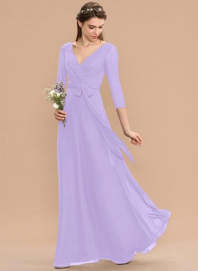 Corte A Decote V Longos Tecido de seda Vestido de madrinha com Pregueado Curvado