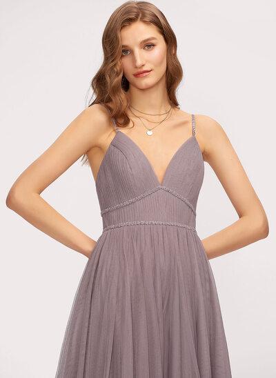 Трапеция V-образный Длина до пола Тюль Платье Подружки Невесты