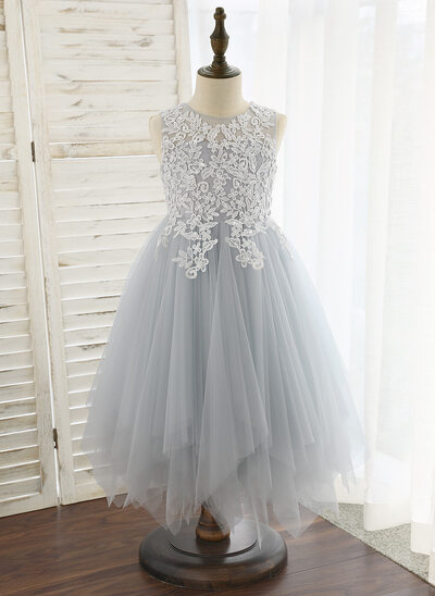 A-Line Tea-length Flower Girl Dress - Tulle Sleeveless Scoop Neck